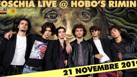 """Foschia: i giovanissimi beniamini del pubblico bolognese approdano all'Hobo's di Rimini per il Release Tour di """"Dalla Città al Cielo""""."""